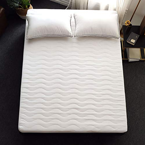 """Allrange Basic Hypoallergenic Quilted Mattress Pad, Essential Mattress Protector, Skirt Stretch Up-to 18"""" Deep, Snug Fit, 190TC, Machine Wash, Twin Size"""
