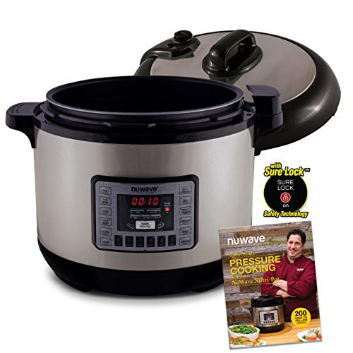 NUWAVE NUTRI-POT 13-Quart DIGITAL PRESSURE COOKER with Sure-Lock Safety System; Dishwasher-Safe Non-Stick Inner Pot; Glass Lid for Slow Cooking; Cooking Rack, 11 Pre-Programmed Presets; Detachable Pressure Pot Lid for Easy Cleaning; and Chef Tested 200 Re