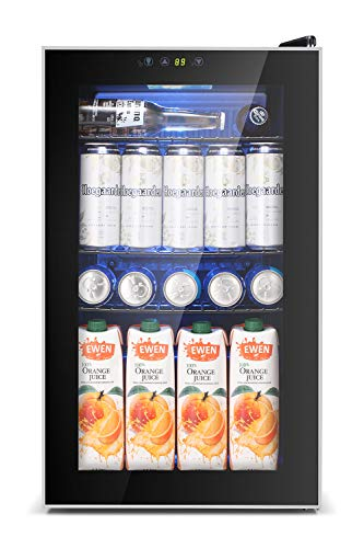 AGLUCKY 2.3 Cu.ft Beverage Refrigerator Cooler, 85 Can Mini Drink Cooler Dispenser for Beer or Wine, Mini Fridge with LCD Temperature Control for Office, Bar, Home or Apartment(Silver)