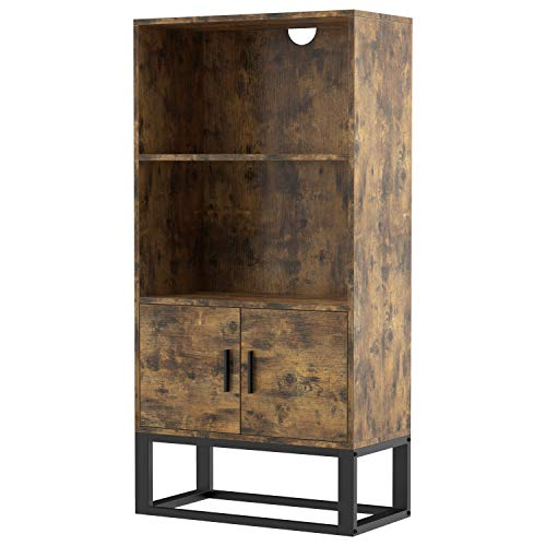 IRONCK Industrial Bookcase with Doors, Bookshelf 47.2 in Height IRONCK Industrial Bookcase with Doors, Bookshelf 47.2 in Height with 2 Shelves, Storage Cabinet for Books, Photos, Decorations, in Living Room, Office, Library,Vintage Brown.