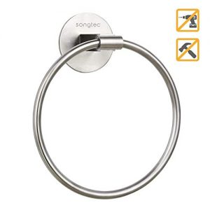 Songtec Towel Ring Easy Install with Self-Adhesive, Stick On Hand Towel Holders, NO Drilling on Walls, Premium SUS304 Stainless Steel - Brushed