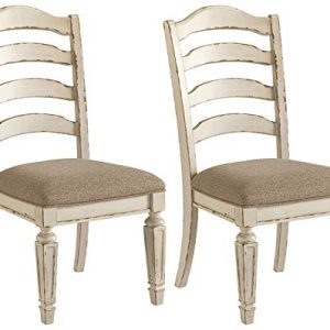 Signature Design by Ashley Realyn Dining Room Chair, Ladder Back, Chipped White