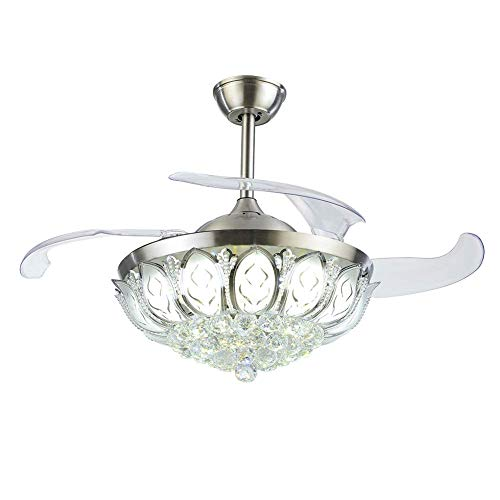 """A Million 42"""" Crystal Ceiling Fan Light Retractable Blades Remote Control Chrome Luxury Chandelier Fan 3 Speeds 3 Colors Changes Lighting Fixture, Silent Motor with LED Kits Included (Luxury)"""