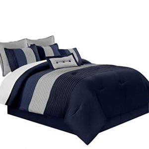 Chezmoi Collection 8-Piece Luxury Striped Comforter Set (California King, Navy/Blue/Gray)