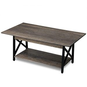 "GreenForest Coffee Table Industrial Metal Legs with Storage Shelf for Living Room 43.3"" x 23.6"", Easy Assembly, Dark Walnut"