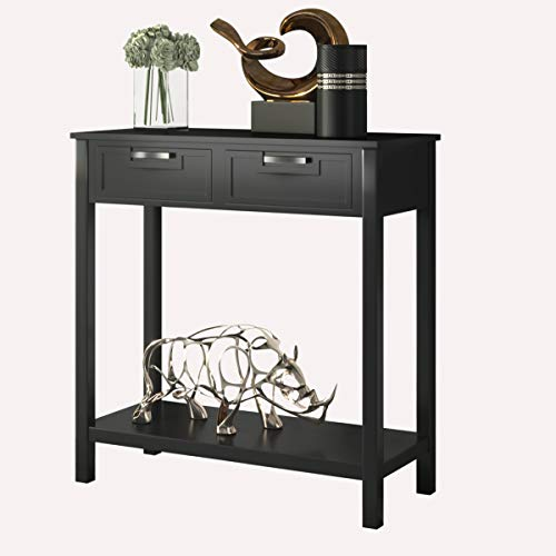 Giantex Console Sofa Table with 2 Drawers and Bottom Shelf, Entryway Table with Solid Wood Legs for Living Room Bathroom Hallway Foyer, 110 LBS Weight Capacity (Black)