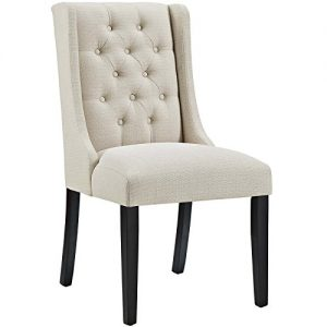 Modway Baronet Modern Tufted Upholstered Fabric Parsons Kitchen and Dining Room Chair in Beige