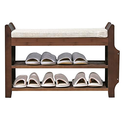 Shoe Bench Rack Nnewvante Shoe Organizer with Storage Basket Side Drawer Bamboo Removable Padded Cushion Seat for Entryway Hallway Living Room Bathroom-29.5in