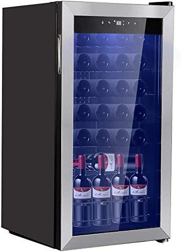 Smad 28 Bottles Freestanding Wine Cellar Compressor Wine Fridge with Digital Temperature Display, Stainless Steel Frame, Black