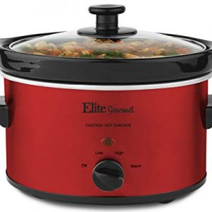 Elite Gourmet MST-275XR Electric Slow Cooker, Adjustable Temp, Entrees, Sauces, Stews and Dips, Dishwasher-Safe Glass Lid & Ceraic Pot, 2Qt Capacity, Metallic Red