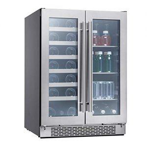 Zephyr Presrv Dual Zone Wine & Beverage Cooler with Glass French Door. 24 Inch 5.15 cu. ft. Refrigerator for Under Counter, Wine Fridge, Beer Fridge, Compact Bar Fridge, Full Size Beverage Center
