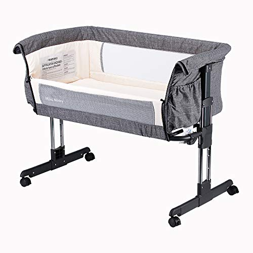 Mika Micky Bedside Sleeper Easy Folding Portable Crib,Grey