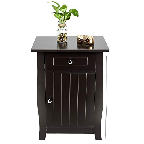 Bonnlo Nightstand Bedside End Side Table with Drawer and Roomy Storage Cabinet Bonnlo Nightstand Bedside End Side Table with Drawer & Roomy Storage Cabinet, 24.5-inch Tall, Brown.