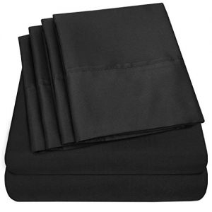 Sweet Home Collection Queen Sheets-6 Piece 1500 Thread Count Fine Brushed Microfiber Deep Pocket Set-2 EXTRA PILLOW CASES, VALUE, Black