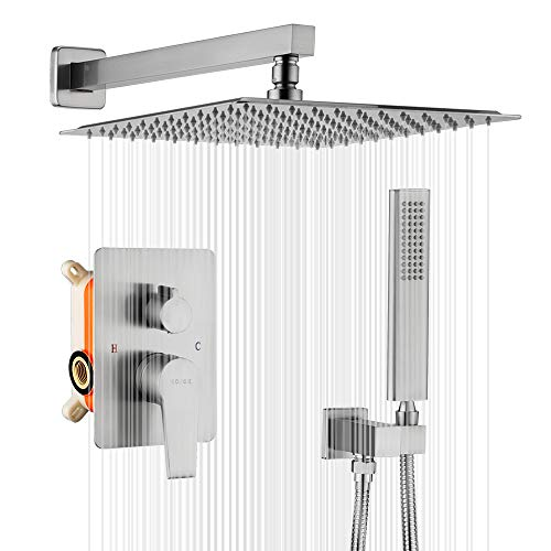 KOJOX 12 Inch Shower System Bathroom Luxury rain shower head with handheld Mixer Shower Faucet Combo Set Wall Mounted Rough-in Valve and Trim Kit Include