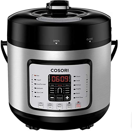 COSORI 7-in-1 6 Qt Electric Pressure Cooker, Slow Cooker, Rice Cooker, Yogurt Maker, Sauté, Steamer & Warmer, Instant Stainless Steel Pot, Extra Sealing Ring, Glass Lid, Recipe, 2-Year Warranty, 120V