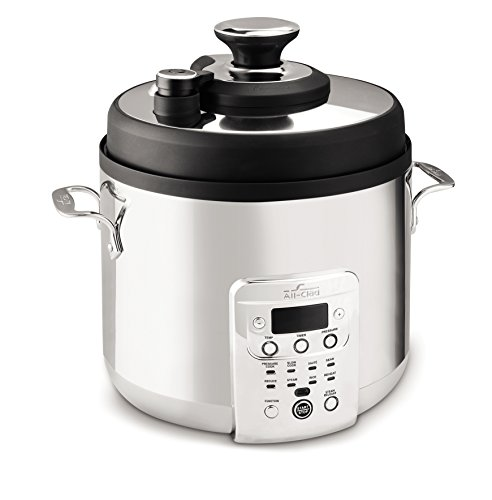 All-Clad 7211002469 CZ720051 Electric Pressure Cooker with Dishwasher safe Nonstick Ceramic Pot and 8 pre-set cooking modes, 6-Quart, Silver