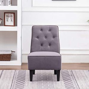 ANNJOE Armless Accent Chair, Button Tufted Slipper Chair Side Chair Single Sofa for Dining Room Living Room Bedroom Funiture (One Seat Gray 2)