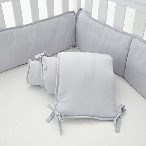 EXQ Home 4-Piece Baby Safe Crib Bumper Pads for Standard Cribs,Breathable Soft Microfiber Polyester Crib Liner Thick Pad,Machine Washable Mesh Bumpers Padded Protector for Nursery Bed(Silver Grey)