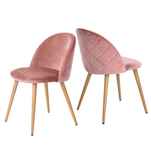 GreenForest Velvet Dining Chairs Mid Century Modern Accent Leisure Chairs Upholstered Side Chairs with Metal Legs for Living Room, Set of 2 / Rose
