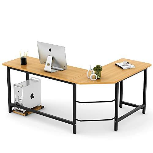 Tribesigns Modern L-Shaped Desk Corner Computer Desk PC Latop Study Table Workstation Home Office Wood & Metal (Light Walnut Brown)