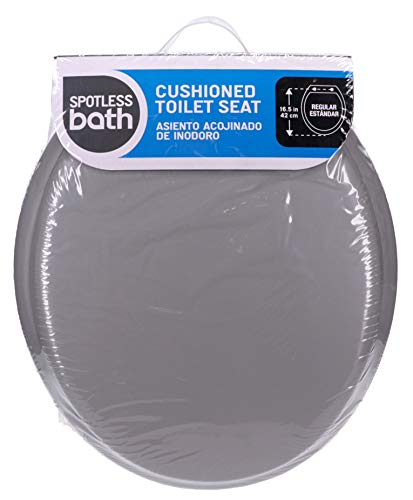 Ginsey Standard Soft Toilet Seat with Plastic Hinges, Grey