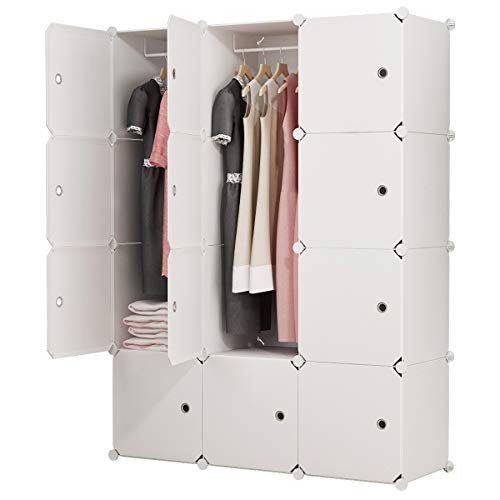 "MAGINELS Portable Closet Clothes Wardrobe 14""x18"" Depth Bedroom Armoire Modular Storage Organizer with Doors"