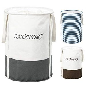 ZERO JET LAG 22 in Collapsible Laundry Hamper with Handles Drawstring Round Cotton Basket Hamper Storage(Grey)