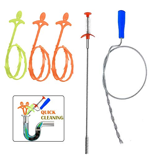 5 in 1 Sink Snake Cleaner Drain Auger Hair Catcher, Sink Dredge Drain Clog Remover Cleaning Tools for Kitchen Sink Bathroom Tub Toilet Clogged Drains Dredge Pipe Sewers