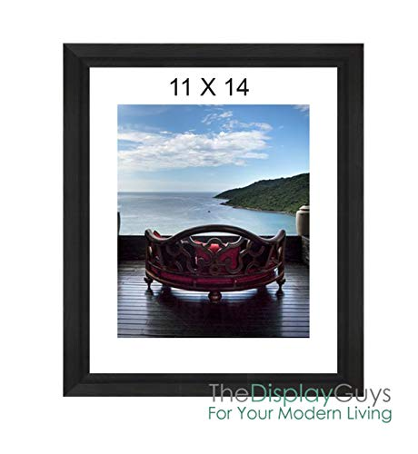 """The Display Guys~ Luxury Made Affordable! 11""""x14"""" Tempered Glass Photo Frame in Onyx Walnut Wood Finish Ridge Molding Elegant and Contemporary"""
