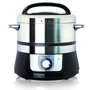 Euro Cuisine FS3200 Electric Food Steamer, Black/Stainless Steel with 90 Minute Timer