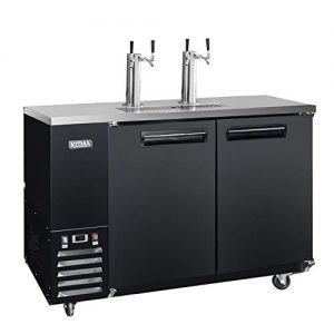 Commercial Dual Tap Kegerator - KITMA 68 Inches Keg Beer Cooler Refrigerator with Digital Display, 4 Faucet, 33°F - 38°F