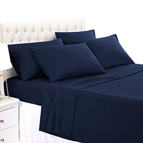 BASIC CHOICE 6 Piece Sheet Set - Luxury Soft 2000 Series Wrinkle & Fade Resistant Bed Sheets - King, Dark Blue