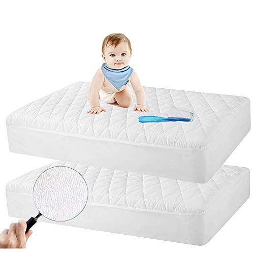 2 Pack Crib Mattress Protector, Toddler Waterproof Organic Bamboo Quilted Fitted Mattress Pad with 28'' x 52'' Baby Mattress Cover