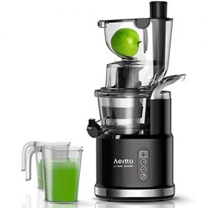 Aeitto Slow Juicer, Slow Masticating Juicer Machine with Big Wide 81mm Chute 900 ml Juice Cup, Cold Press Juicer for Nutrient Fruits and Vegetables, Vertical Juicer Machine BPA Free with Quiet Motor & Reverse Function, Easy to Clean
