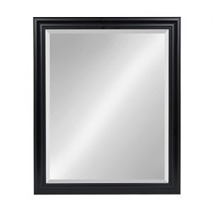 Kate and Laurel Dalat Framed Beveled Rectangle Vanity Mirror, 26x32, Black, for Horizontal or Vertical Wall Display