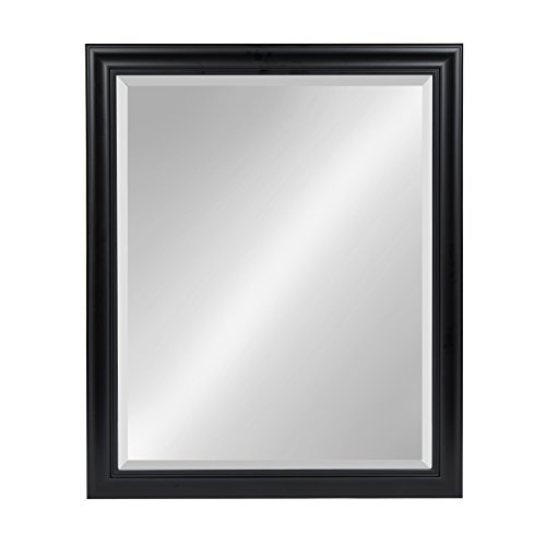 Kate and Laurel Dalat Framed Beveled Rectangle Vanity Mirror, 26x32, Black, for Horizontal or Vertical Wall Display