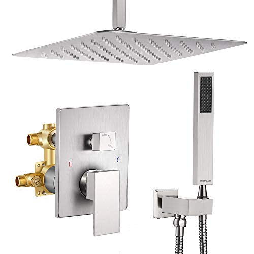 Esnbia Shower System, 12 Inch Ceiling Mount Brushed Nickel Shower Faucet Bathroom Luxury Rain Mixer Shower Combo Set Rainfall Shower Head System (Rough in Shower Faucet Vlave Include)