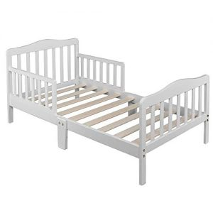 SSLine Wooden Toddler Bed Frame, Kids Bed Frame Children Bedroom Furniture Bedframe with Safety Guardrails for Kids Children (White)