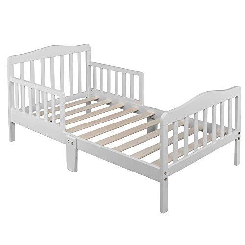 SSLine Wooden Toddler Bed Frame, Kids Bed Frame Children Bedroom Furniture Bedframe with Safety Guardrails for Kids Children (White)