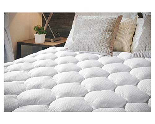 """EcoMozz Queen Mattress Pad Pillowtop Topper with 8-21"""" Deep Pocket Hypoallergenic Down Alternative Quilted Overfilled Fitted Mattress Cover"""