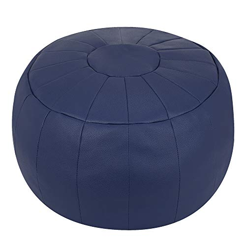 ROTOT Decorative Pouf, Ottoman, Bean Bag Chair, Footstool, Foot Rest, Storage Solution or Wedding Gifts (Unstuffed) (Navy Blue)