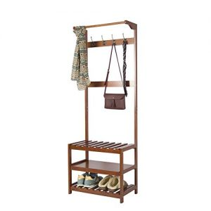 Yaker' s Collection Hall Tree Full-Wood, Coat Rack Shoe Bench with 8 Hooks and 3-Tier Shelves, Easy Assembly Entryway Shoe and Coat Rack for Jackets, Handbags, Coats, Hats, Shoe Storage