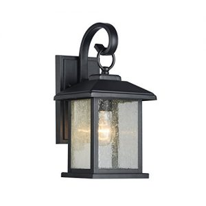 Edvivi Mira 1-Light Textured Black Outdoor Wall Sconce Clear Seedy Glass Lantern Lamp Light | Traditional Lighting
