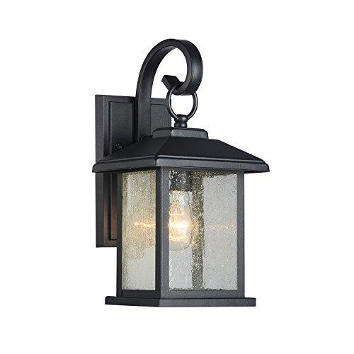 Edvivi Mira 1-Light Textured Black Outdoor Wall Sconce Clear Seedy Glass Lantern Lamp Light | Traditional Lighting