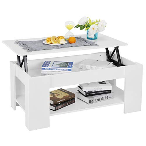 ZENY Coffee Table with Lift Top Hidden Compartment and Storage Shelves Modern Furniture for Home, Living Room, Décor (White)