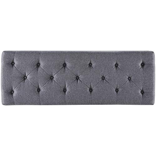 """BELLEZE 48"""" Rectangular Gray Storage Fabric Ottoman Bench Tufted Footrest Package deal Dimensions: 17.zero x 48.zero x 16.5 inches"""