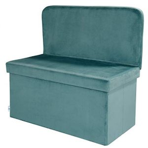 B FSOBEIIALEO Velvet Storage Ottoman with Seat Back, Footstool Shoes Bench Folding Chair, Room Organizer Cube Box (Teal, Large)