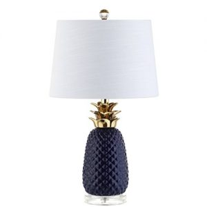 "23"" Ceramic LED Table Lamp, Navy/Gold, Modern, Contemporary, Bulb Included"