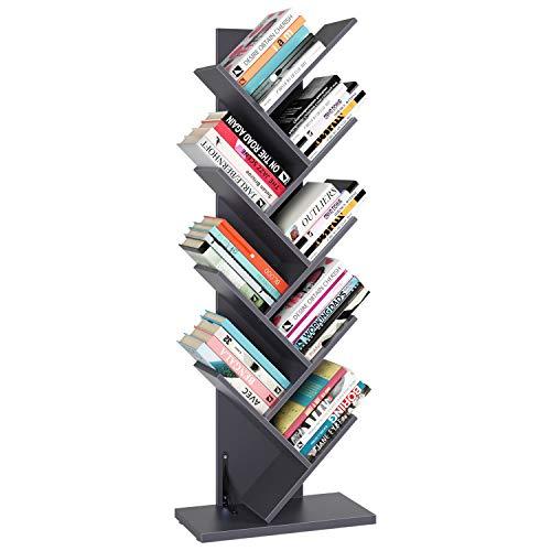 Homfa Tree Bookshelf, 9-Shelf Rack Bookcase, Artistic Free Standing Book Storage Organizer, Books/CDs/Albums/Files Holder in Living Room Home Office, Gray(Large)